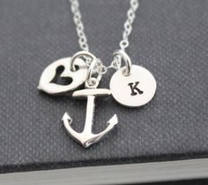 Anchor Necklace .. Initial Necklace ..Sterling Silver, Personalized Jewelry , Custom Hand Stamped Pendant Journey Necklace. $33.00, via Etsy.