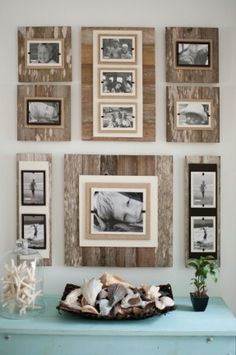 Idea for hanging pictures Reclaimed Wood 22 X 22 Frame 8 X 10 Photo- Brown - Classy Country. Distressed frame wall collage