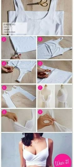 How to make this Balenciaga inspired crop top. 15 great ideas on how to refashion & restyle old T shirts into fun crafts and accessories. You'll never have to wonder what to do with old T shirts. Diy Crop Top, Crop Tops, Tank Tops, Diy Camisa, Fashion Bubbles, Diy Kleidung, Diy Fashion, Womens Fashion, Fashion Beauty
