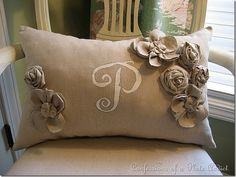gorgeous linen flower and stencil details on this Pottery Barn inspired pillow by Confessions of a Plate Addict