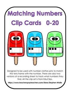 Designed to be used with number clothes pins (or any kind of marker) to match the tens frame with the number.   There are also two versions of a recording sheet to track what numbers they find.   All the clip art is from EduClips.  These would make a great math center activity.