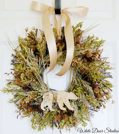 Gorgeous rustic wreath for fall and winter.