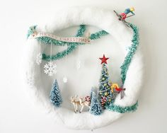 Large White Glittered Snowy Scene Terrarium Wreath- Cross Country Skiing