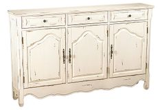 """Jenson 3-Door Cabinet, Distressed White on OneKingsLane.com 60""""W x12"""" D x 37""""H. $599. One shelf behind each door. Will the 12"""" depth allow for dinner-sized plates?"""