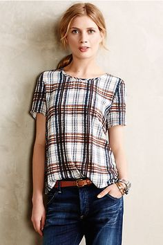 Draped Plaid Top - anthropologie.com (really like this even though I don't generally like plaid. It's the colors and blurred lines that make it look more organic)