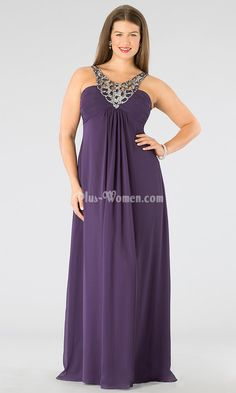 2c0521d4d36 Embellished Neck and Straps Empire Long Plum Plus Prom Dress Plum Prom  Dresses