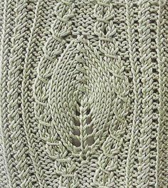 """Free Knit pattern - leaves with yarnovers inset """"A large sheet with turns. Discussion on LiveInternet - Russian Service Online diary"""""""