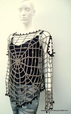 Halloween Spider Web Blouse Goth Punk Grunge by SpiderWebsPoint