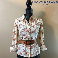 Lucky Brand Utility Cotton Print Button Down Top Lucky Brand Utility Cotton Print Button Down Top - Size Large. Maybe worn once, at most. It's in perfect condition and ready for summer!NO TRADES Lucky Brand Tops Button Down Shirts