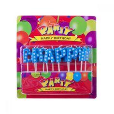 Mavi Puantiyeli Happy Birthday Yazı Mum