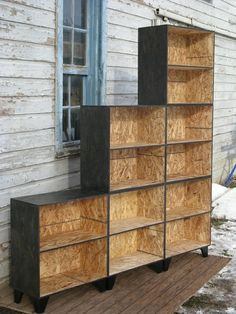 Custom Made Tansu Style Step Modular Osb Bookcase Room Divider In Black Stain Under stairs (Diy Storage Bookcase) Osb Plywood, Plywood Furniture, Diy Furniture, Furniture Design, Chipboard Interior, Painted Osb, Painted Closet, Osb Board, Natural Interior