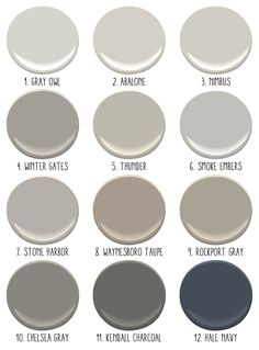 1. Gray Owl- a really pretty light gray. Amanda has this in her house and it looks beautiful; 2. Abalone- another pretty light gray with a touch of brown and lavender; 3. Nimbus- a warm neutral gray; 4. Winter Gates; 5. Thunder; 6. Smoke Embers- nice cool gray with blue tones- looks good with Hale Navy; 7. Stone Harbor; 8. Waynesboro Taupe- this color changes dramatically given the light but is really rich; 9. Rockport Gray- one of Amanda's favorites! ; 10. Chelsea Gray; 11. Kendall…