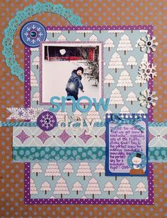 Snow Day - Scrapbook.com - Adorable layers on this fun snowy layout using Doodlebug Design's Frosty Friends collection.