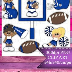 Clipart | Time For Football Blue White | Kristi W. Designs Reseller |  for Personal & Commercial Use Instant Download