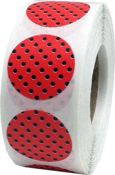 Red Stickers with Black Polka Dots  0.75 Inch by TheDotSpotLane
