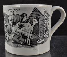 Childs Staffordshire Pearlware Black Transfer Mug Circa 1820 Antique Nursery, Vintage Nursery, Vintage Plates, Vintage China, Antique China, Vintage Kitchen, Vintage Dog, Vintage Children, Childrens Cup