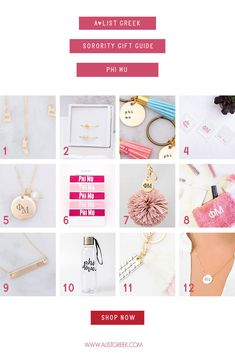 Phi Mu Gift Guide! Here at A-List Greek we have all your favorite Phi Mu sorority accessories ready to gift! Hair ties, high-quality Greek letter jewelry, keychains, bags and more! Shop all the above gifts and more at www.alistgreek.com! #biddaygifts #sororitybidday #jewelry #accessories #giftguide #greekletters #sororitygifts #keychains #personalized #custom #phimu #phimugifts