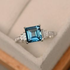 London blue topaz ring square cut ring sterling by LuoJewelry