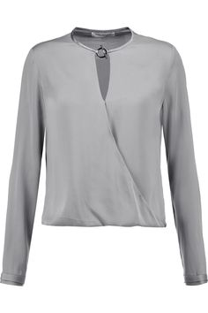 HALSTON HERITAGE Wrap-effect stretch-silk satin blouse. #halstonheritage #cloth #blouse