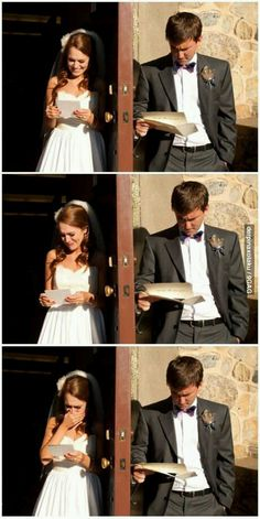 A great way to take a pic of the bride and groom together before they see eachother for the first time.  Also a neat way for the two of them to communicate without breaking tradition.  Lots of 'What would I say in if it were me' comes to mind here. =^)