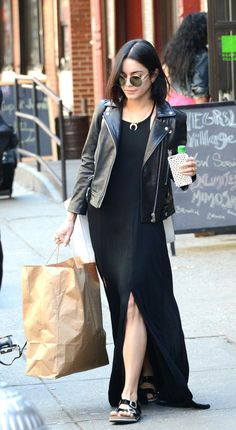 Maxi with a leather jacket, sandals, round sunnies.