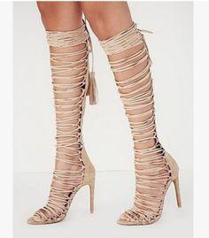 Womens Sexy Peep Toe Knee High Boots Cross Strap Stilettos Roman Sandals Shoes