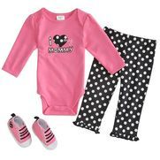 "Baby Gear Newborn  Girl Creeper Pantset Reg. $21.99 Sale $10.99 ""I Love my Mommy"" Creeper Set Fuchsia long-sleeve creeper features embroidery and applique detail with lap shoulder and 3-snap closure at inseam. VISIT http://www.littleoneslocker.com/infant-girls-clothing-sets.html"
