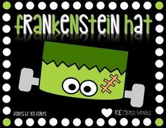 This super cute Frankenstein Hat Template includes all the pieces necessary to make the Hat pictured.*It is highly recommended that you print the template pages on white card stock for more durability. You will need a stapler or tape, scissors, crayons/colored pencils or markers, and glue for this project.Directions:1.