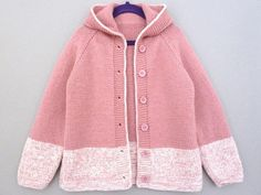 Toddler girl sweater hooded cardigan. Hand knitted wool