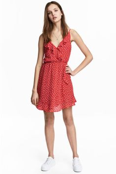 Red& Dress in airy woven fabric with flounce details. V-neck, narrow shoulder straps, and attached wrapover front section. Elasticized seam at waist Ruffle Dress, Dress Skirt, Dress Up, Fashion 2018, Girl Fashion, Dame Chic, Red Wrap Dress, Short Dresses, Summer Dresses