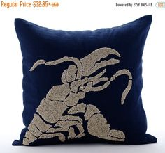 15% HOLIDAY SALE Luxury Navy Blue Pillows Cover by TheHomeCentric