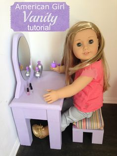 This American Girl Bathroom Vanity is quick and easy to build. My doll loves her vanity and enjoys painting her nails on it! This is a fun weekend project. American Girl House, My American Girl Doll, American Girl Crafts, American Girl Clothes, Barbie, American Girl Accessories, Doll Accessories, American Girl Furniture, Girls Vanity