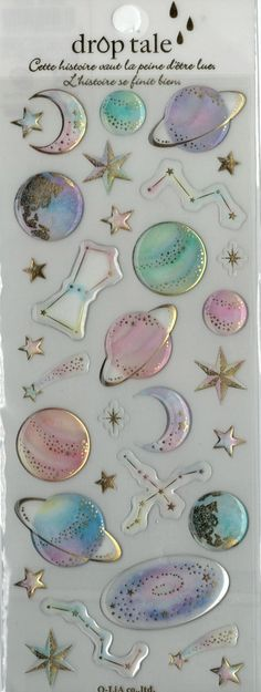 Kawaii Japan Sticker Sheet Assort Epoxy Droptale Series: GALAXY Space Extraterrestrial Constellations Stars Charts Science Astronomy