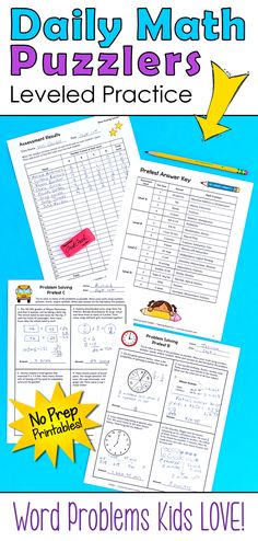 What if kids actually loved solving word problems? Teachers who use the Daily Math Puzzlers find that this problem-solving program boosts their students' confidence and their math scores skyrocket as well! Four levels make it easy to differentiate; Second Grade Math, 4th Grade Math, Teaching Math, Teaching Resources, Maths, Teaching Ideas, Math Challenge, Math Problem Solving, Math Groups