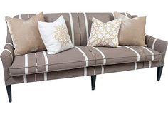 Striped sofa w/ throw pillows