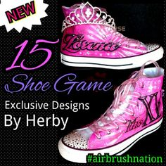 Quinceañera shoes custom airbrush by Herby at Airbrush nation 323-456-5243 call now.
