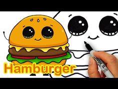 How to Draw a Cartoon Hamburger/Cheeseburger Cute and Easy