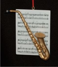 Saxophone with Musical Score - Personalized Family Christmas Ornament
