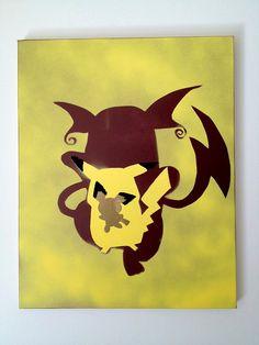 Pokemon Silhouette Canvas Painting Pichu Pikachu by HouseOfThree3, $15.00