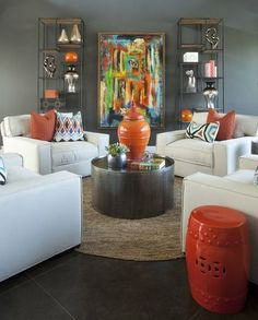 SW Black Fox Walls + Dark Floors + Light Furniture + Color&Pattern + Earthy Tones
