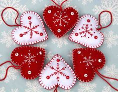 Felt Christmas Heart ornaments,Handmade red and white snowflake hearts,Set of 3 Scandinavian embroidered heart decorations, wedding favours.