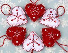 Felt Christmas Heart ornamentsHandmade red and por PuffinPatchwork