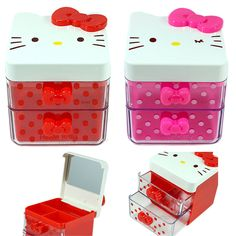 Hello Kitty Jewelry Box Mirror Jewellery Case Storage Organizer Ring Earring