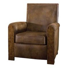 "Push-back reclining arm chair with velvet-soft fabric upholstery and nailhead trim.   Product: ChairConstruction Material: Wood and velvetColor: Distressed pecanFeatures: Nailhead trimReclining back and footrestDimensions: 38.5"" H x 33.5"" W x 35"" D"