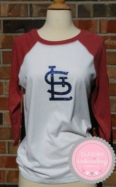 STL Cardinals Raglan Ladies Shirt Glitter Vinyl St.Louis Red White 3/4 sleeve by bubblesemb on Etsy