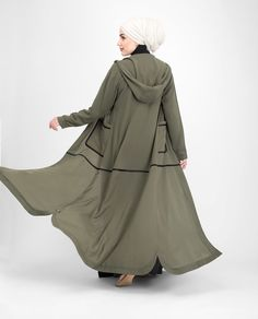Front Open Olive Outerwear - Look effortlessly fashionable in this lightweight Outerwear. With Curved hem slits, this Outerwear is your casual urban must have Mode Abaya, Mode Hijab, Niqab Fashion, Muslim Fashion, Hijab Style, Abaya Designs, Moroccan Dress, Hijab Fashion Inspiration, Islamic Clothing