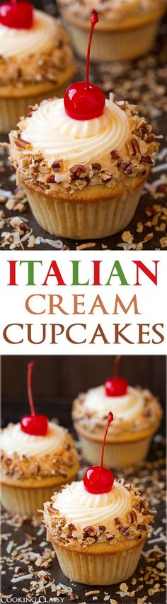Italian Cream Cupcakes - Toasted coconut and pecans in buttermilk cake batter topped with luscious cream cheese frosting. Love Italian Cream Cake, but I mostly love the presentation of these cuppy cakes. Brownie Desserts, Mini Desserts, Just Desserts, Dessert Recipes, Italian Desserts, Gourmet Cupcake Recipes, Plated Desserts, Drink Recipes, Baking Cupcakes