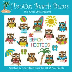 Hooties Beach Bums Owls Mini Collection Cross by PinoyStitch, $7.50