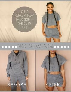 Easy DIY transformation of a basic hoodie & sweatpants into a cute crop top hoodie and shorts set! No sewing required!