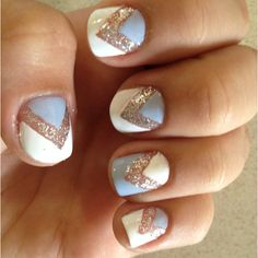 Chevron with a glitter middle. Would love this design for an accent nail on each hand.